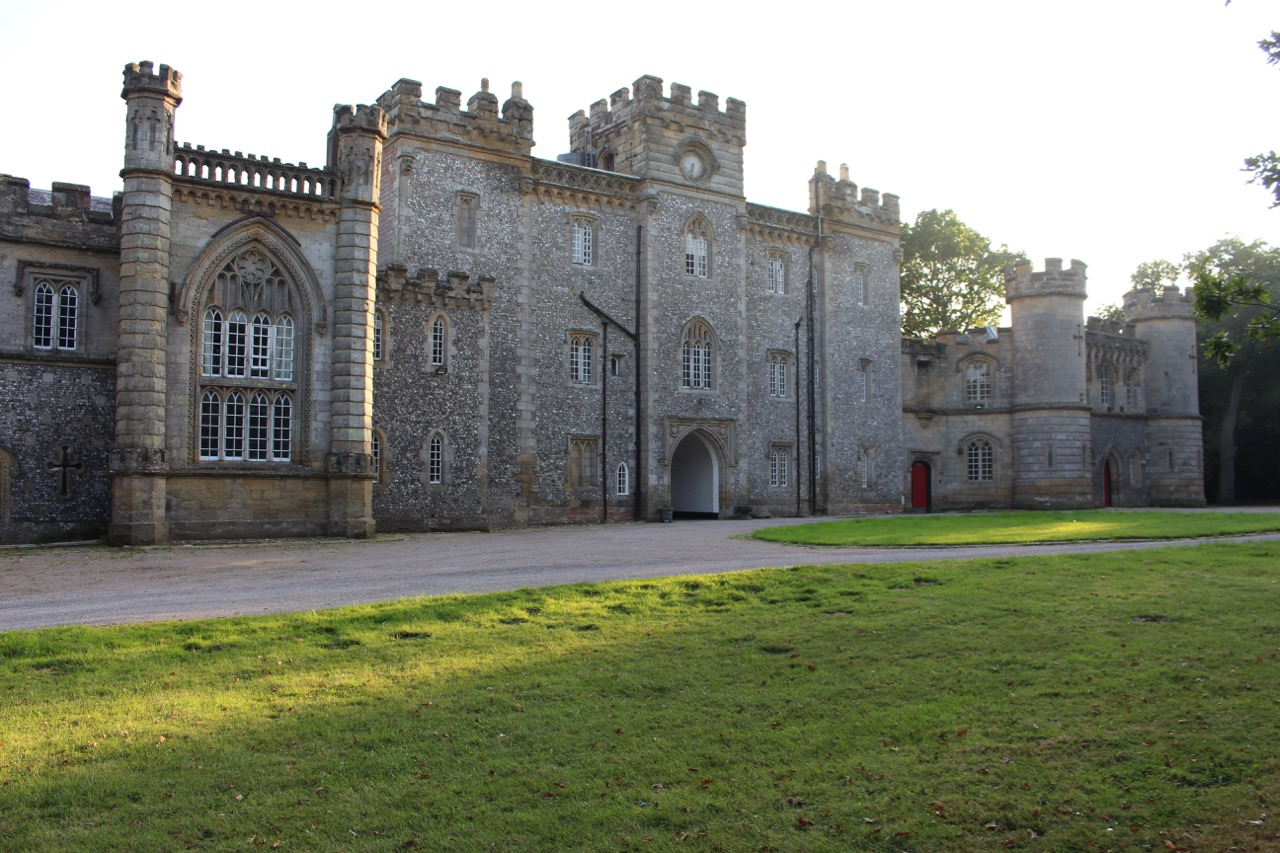 The gothic style exterior, the first of the property's two facades to greet visitors