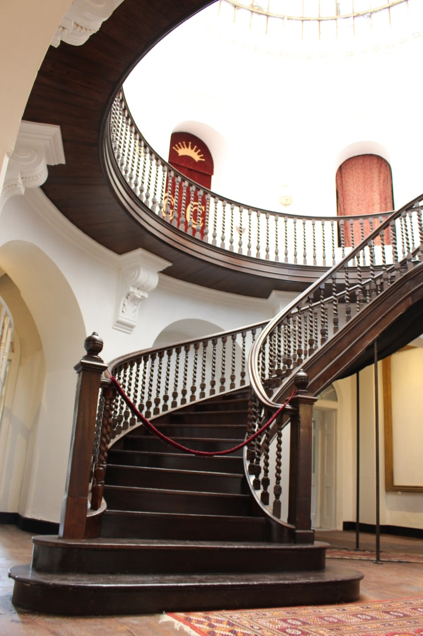 Castle Goring's 19th Century entrance hall which sits below a substantial glass dome.