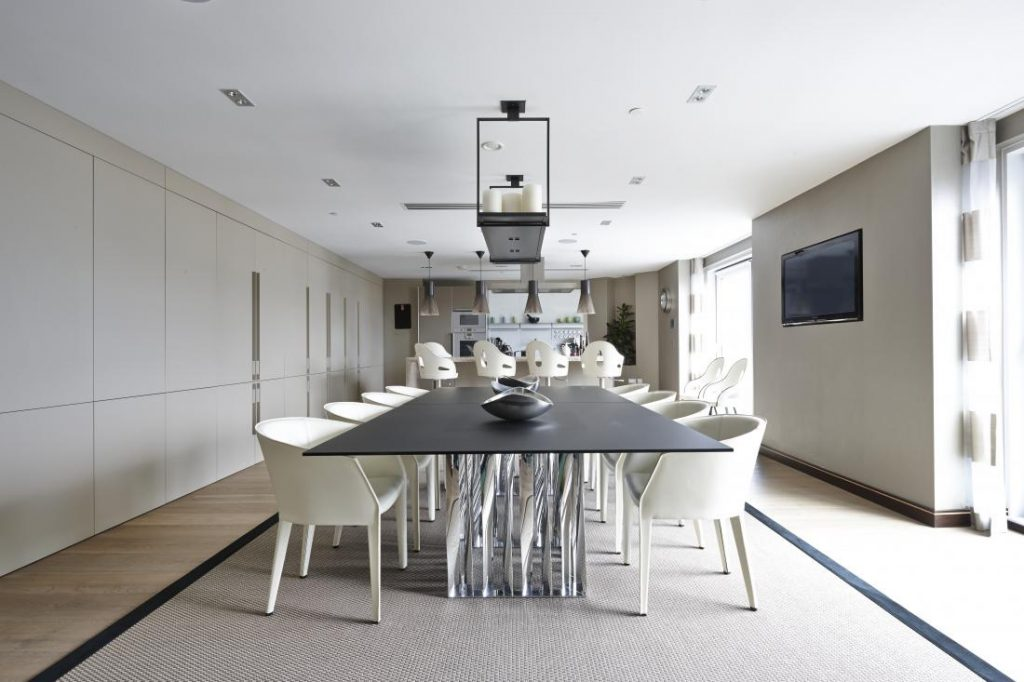 Be our guest: the apartment is home to a high end kitchen and sizeable dinning table.