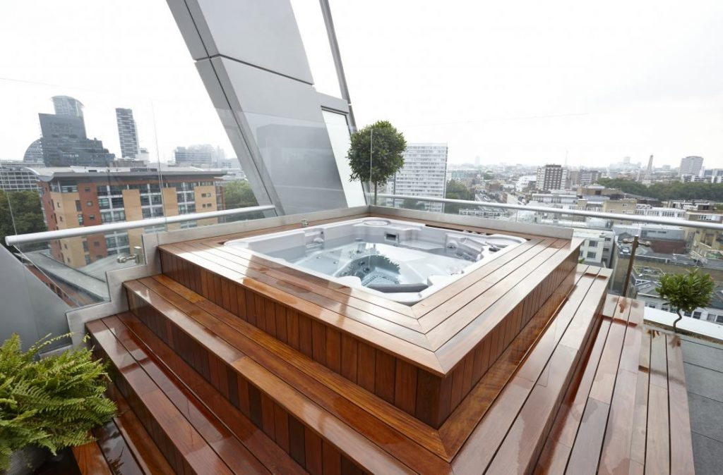 Bubbles on the roof at Old Street Penthouse.